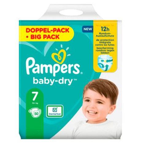 Windeln Pampers Baby Dry, Grösse 7 Extra Large, 15+kg, Doppelpack, 50 St
