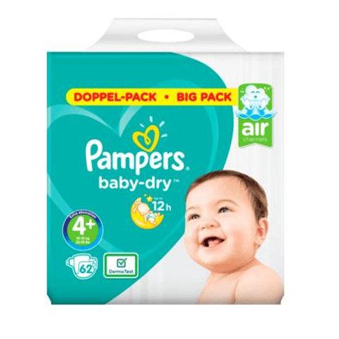 Pampers Baby Dry AIR Nummer 4+ Doppel-Pack mit 62St. Inhalt