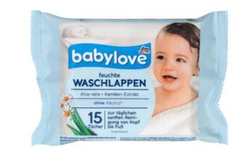 Babylove Feuchte Waschlappen 1 Pack für unterwegs a 15 Tücher