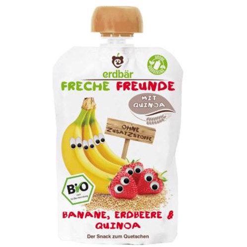erdbär Naughty Friends Squeeze Bags Banana, Strawberry & Quinoa from 1 year, 100 g