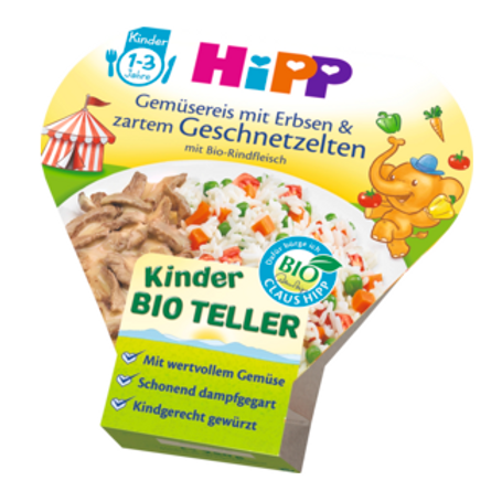 Hipp Bio Kinderteller Gemüsereis mit Erbsen & zartem Geschnetzelten ab 1 J