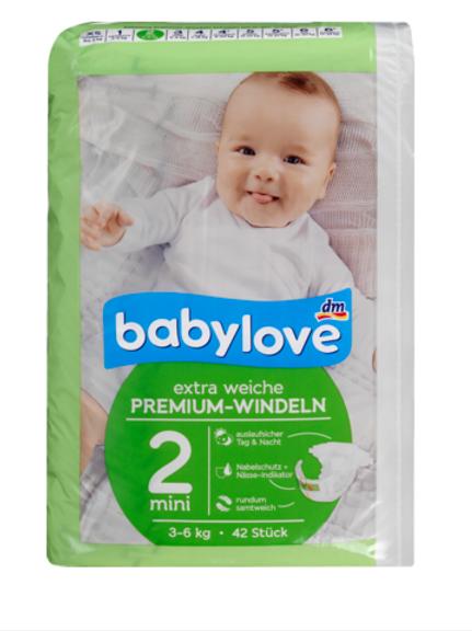 Babylove extra weiche Premium Windeln Mini Grösse 2 = 3-6 Kg