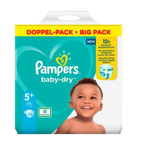 Windeln Pampers Baby Dry, Grösse 5+ Junior Plus, 12-17kg, Doppelpack, 58 S