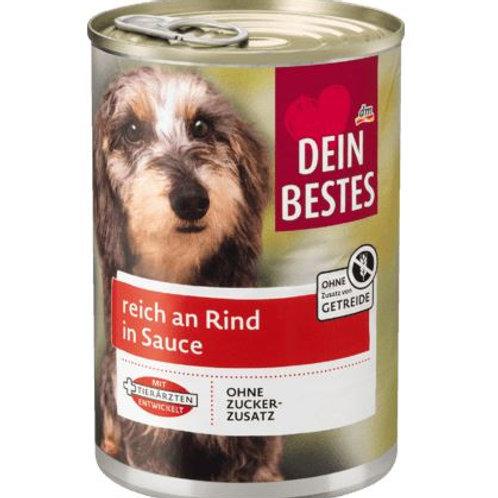 Dein Bestes Nassfutter für Hunde, reich an Rind in Sauce ohne Zusatz von Getreid