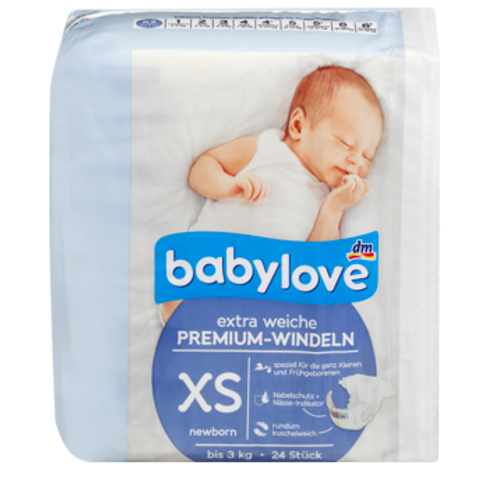 Babylove extra weiche Premium Windeln New Born XS Grösse 0 = bis 3 Kg