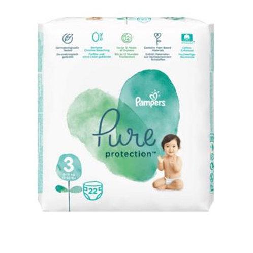 Pampers Windeln Pure Protection, Größe 3, 6-10 kg, Tragepack, 22 St