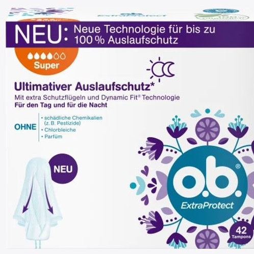 o.b. Tampons Extra Protect Tag+Nacht Super, 42 St