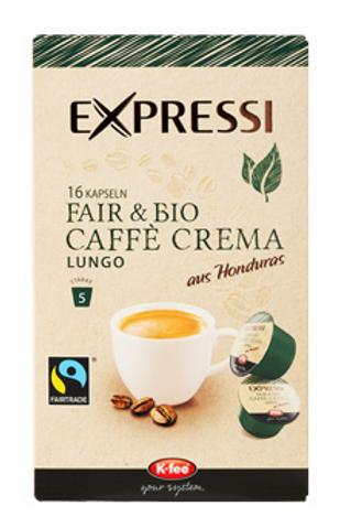 K-Fee Kapsel Expressi Lungo CAFÉ CREMA Fair & Bio