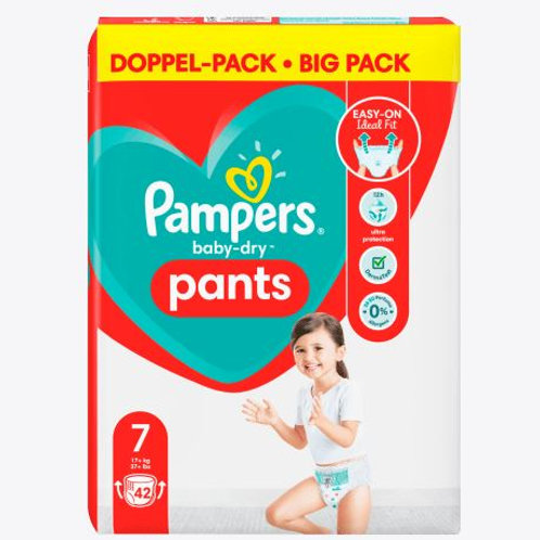 Pampers Baby-Dry Nappy Pants 7 double pack with 42 pieces. content