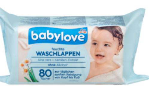 Babylove Feuchte Waschlappen 1 Pack mit Aloe Vera + Kamillen Extrakt, 80 Tücher