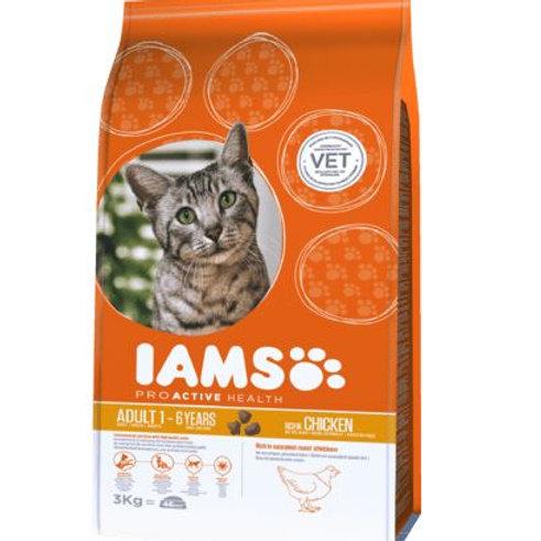 IAMS Trockenfutter für Katzen, Adult, Proactive Health mit Huhn, 3 kg