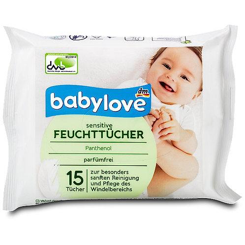 Babylove Sensitive Feuchttücher 1 Pack für unterwegs a 15 Tücher