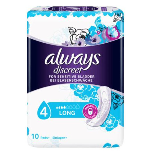 always Discreet Hygieneeinlagen Blasenschwäche Binden Long, 10 St