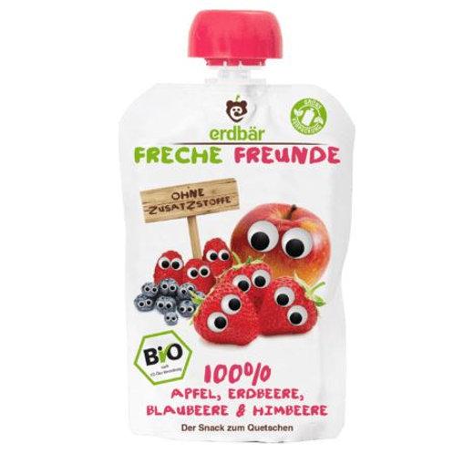 erdbär Freche Freunde Quetschbeutel 100% Apfel, Erdbeere, Blaubeere & Himbeer
