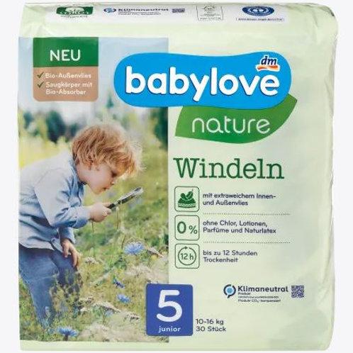 Babylove Nature-Windeln Nummer 5 Junior Biovlies  10-16 Kg 30 Stk.