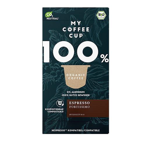 Nespresso® kompatible Kaffee von My-CoffeeCup, Espresso Fortissimo kompostierbar