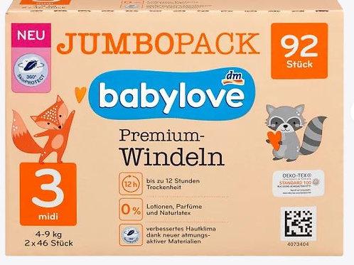 Babylove Premium-Windeln Gr. 3 Midi 4-9 Kg 92 Stk.