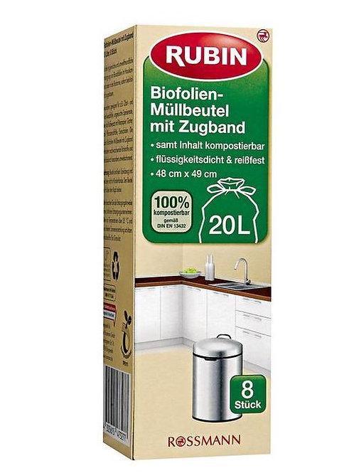 RUBIN Tragegriff Biofolien Müllbeutel 20l/8Stück