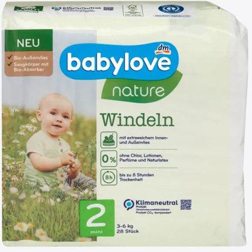 Babylove Nature-Windeln Nummer 2 Mini Biovlies 3-6 Kg 28 Stk.