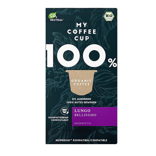 Nespresso® kompatible Kaffeekapseln von My-CoffeeCup, Lungo Bellissimo Kompost.