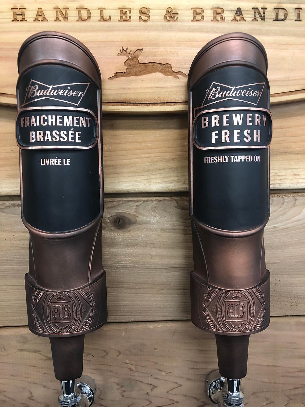 Budweiser brewery fresh tap handles