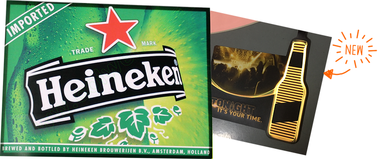 heineken branding, EL signs, light up sheet, fluorescent sign, POP