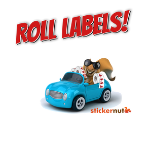 Stickernut squirrel in car with roll labels