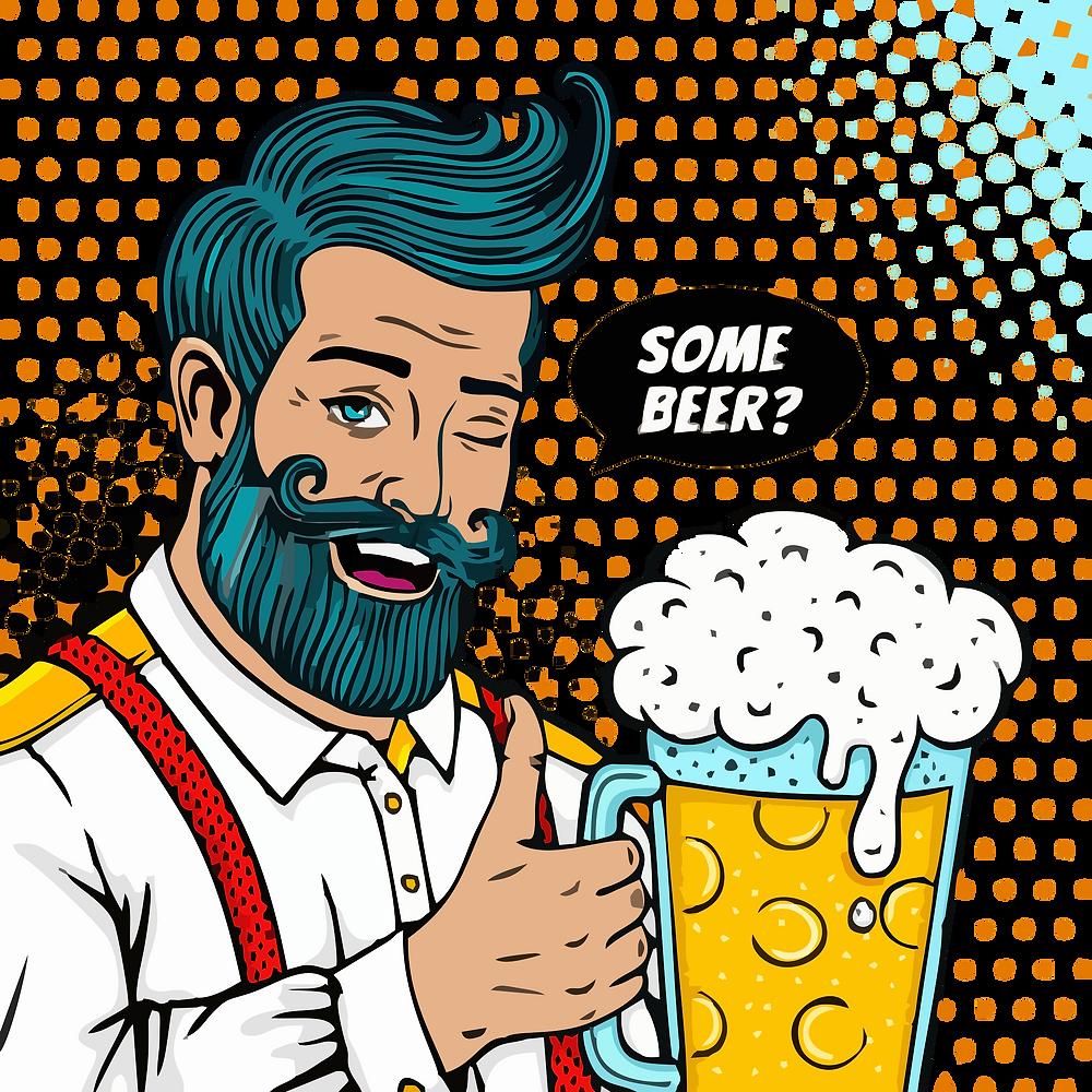 man holding beer cartoon