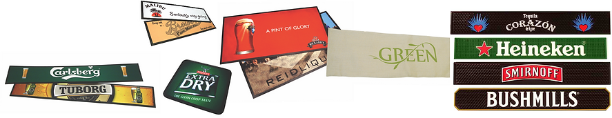 Bar Mats and runners, keg collar, POP, beer brading, brewery branding, brewers marketing, bar