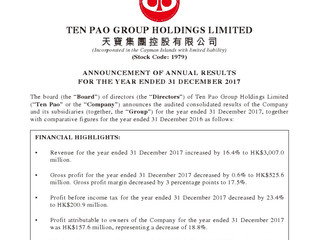 Announcement of annual results for the year ended 31 December 2017