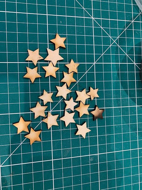 20 Small Wooden Stars
