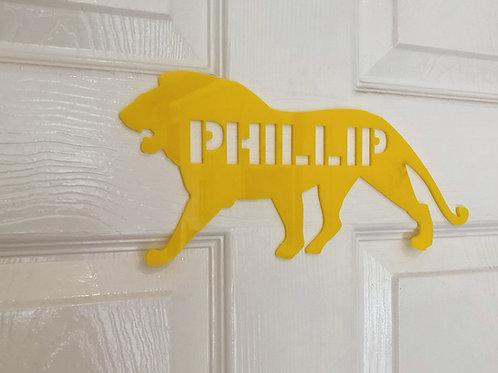 Children's door plaque -Lion, personalised child's door sign for child's bedroom