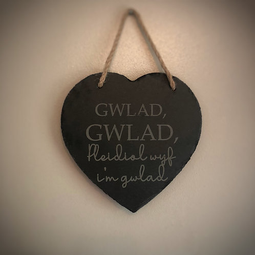 Personalised slate heart - Welsh National Anthem 'Gwlad Gwlad'