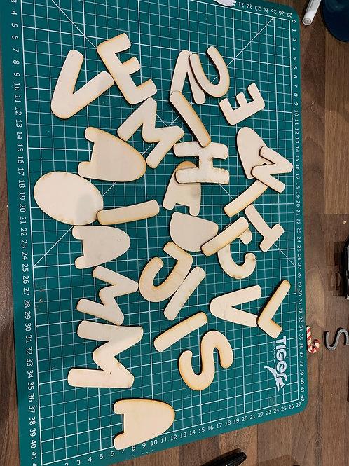 Random Wooden Letter Outlines - Larger