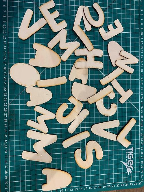 Random Wooden Letter Outlines - Smaller