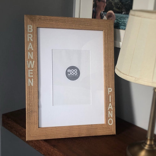 Large personalised certificate or photo frame, custom engraved with a message