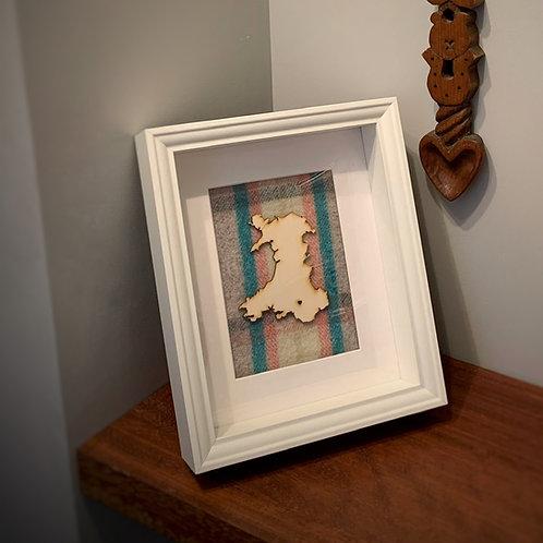 Framed Wales Map on Welsh Blanket