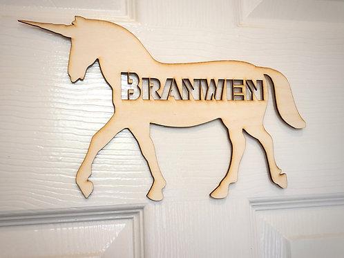 Children's door plaque -Unicorn, personalised door sign for a child's door