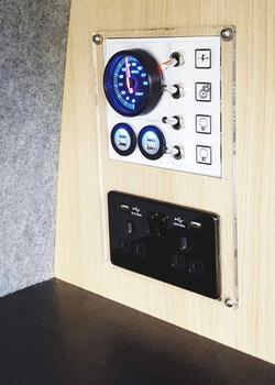 Camper van control panel