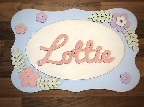 Children's door plaque - 'Lottie' style with oval and flowers