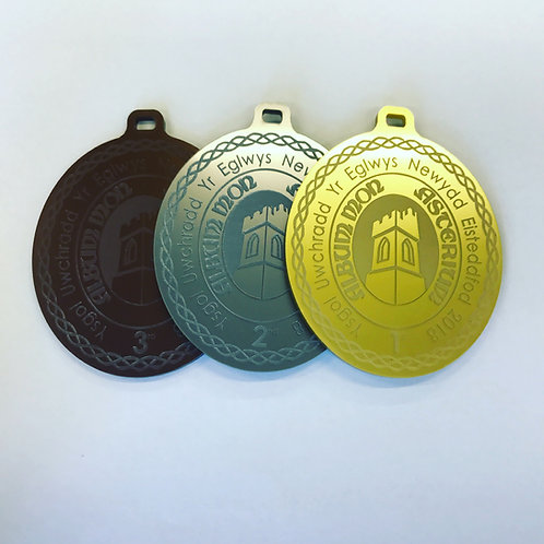Medals personalised with a logo and school name