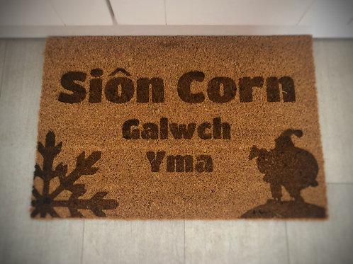 Christmas Doormat - Sion Corn Galwch Yma