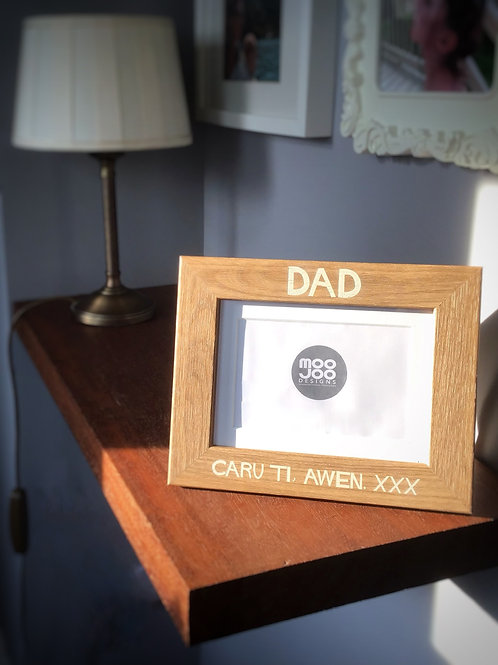 Personalised photo frame, custom engraved with a message for family or friends