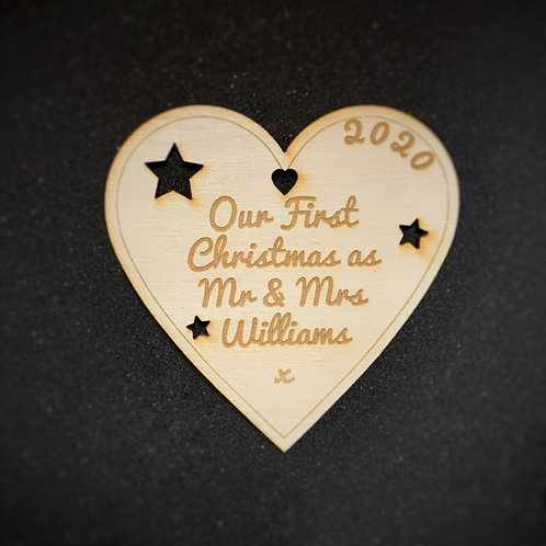 Personalised First Christmas Bauble -Heart