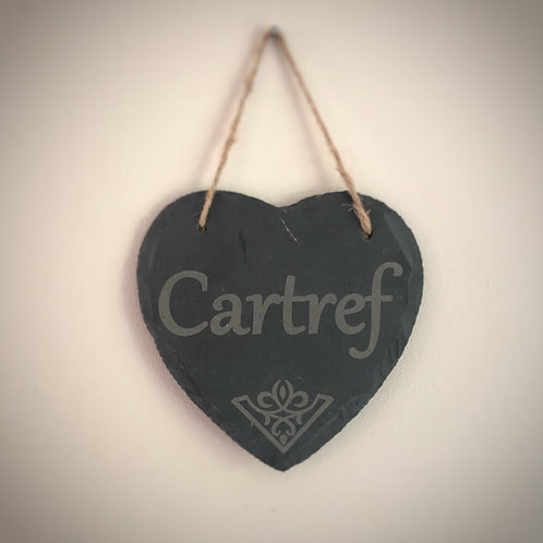 Personalised slate heart - Welsh language 'Calon Cartref'