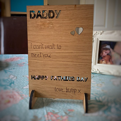 Personalised Father's Day Card in Oak - Own Handwriting Available