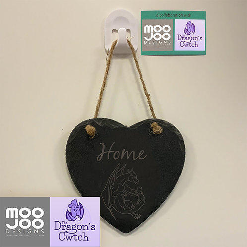 'Space Friends' Dragon and Cat Design on Slate Heart