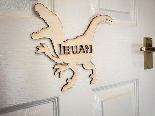 Children's door plaque -Raptor, personalised door sign for a child's bedroom