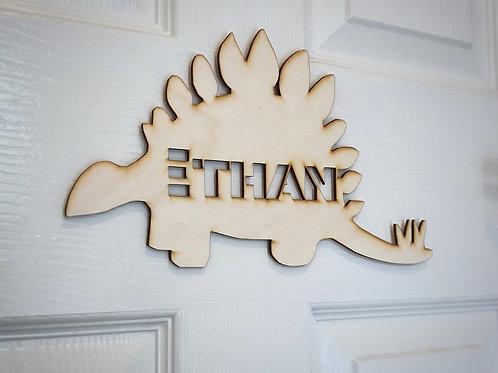 Children's door plaque -Stegosaurus, personalised door sign for a child's room