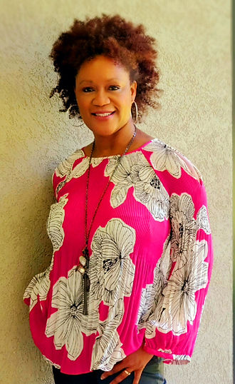 Rhonda hot pink and white blouse tan bac